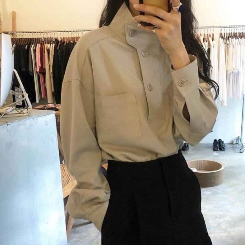 Loose Stand Collar Solid Shirt