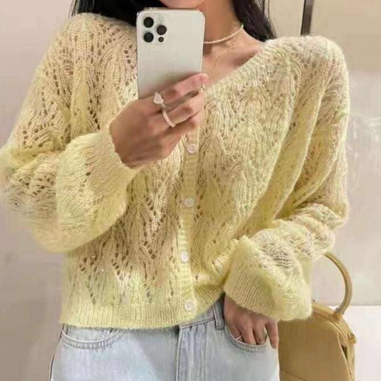 Lovely Pure Color V Neck Punching Cardigan