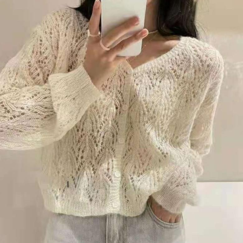 Lovely Pure Color V Neck Punching Cardigan 針織外套