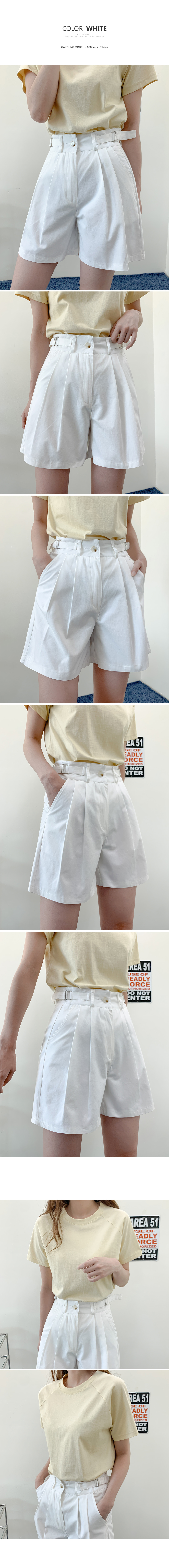 Modern Half Pintuck Cotton Buckle Slacks Bermuda Shorts P#YW648