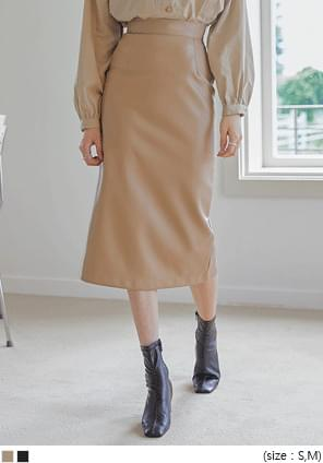 LEATHER BUTTON H LINE LONG SKIRT