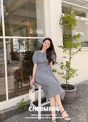 Chevming Check Back Ribbon Pleated Long Dress