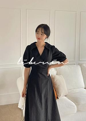Liberbin V Collar Neck Long Dress