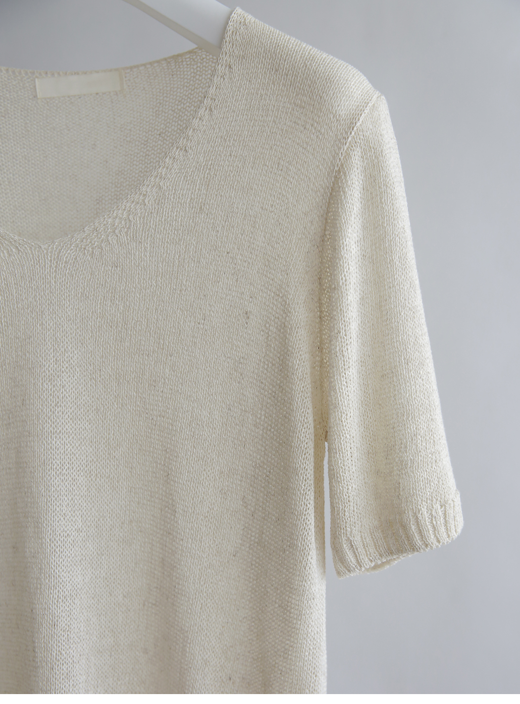 Summer mood tone V-neck linen knitwear