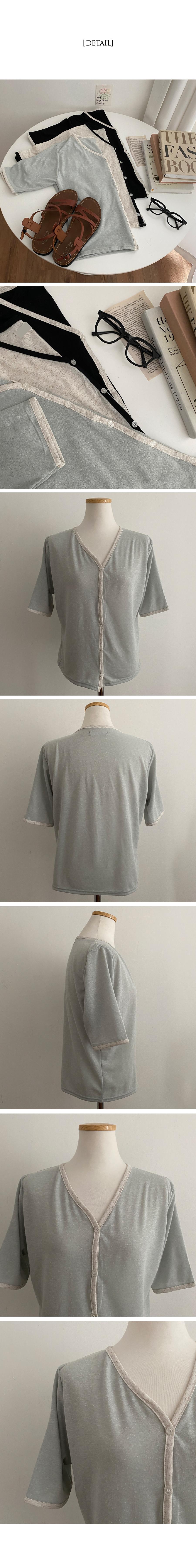 Matcha color linen short sleeve cardigan