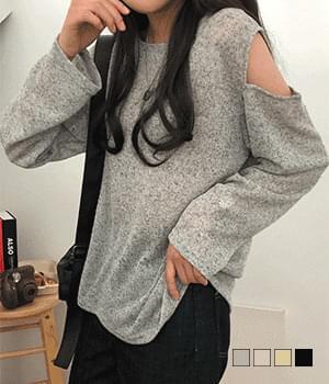Arden Open Shoulder Linen Knitwear T-Shirt