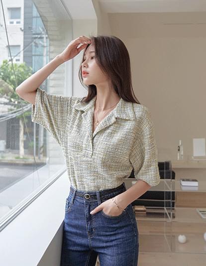 Roche tweed collar blouse
