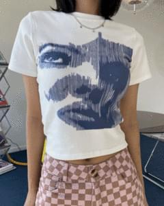 face print cropped short sleeve tee