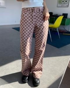 Pink Chess Cotton Flared Trousers