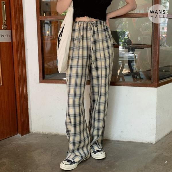 pt5395 Listen Check Wide Pants (Delayed delivery)