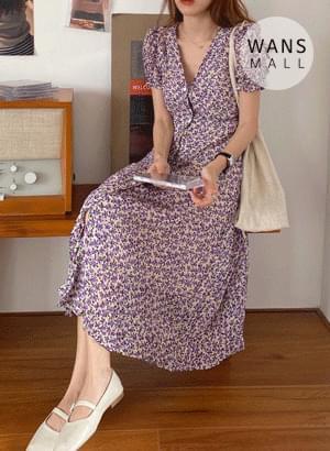 op5021 Lutty Flower Line V-Neck Dress