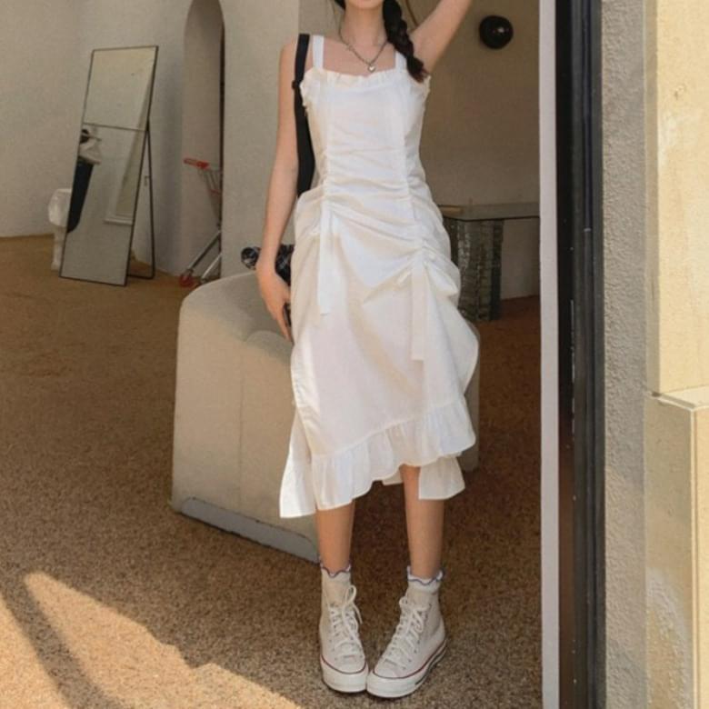 Romantic Cotton Ruffle Shirring Sleeveless Dress