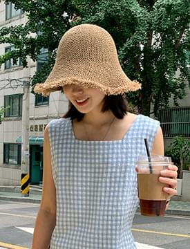 Natural Tassel Down Bucket Hat