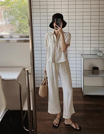 Ice Latte Linen Shirt Pants Set
