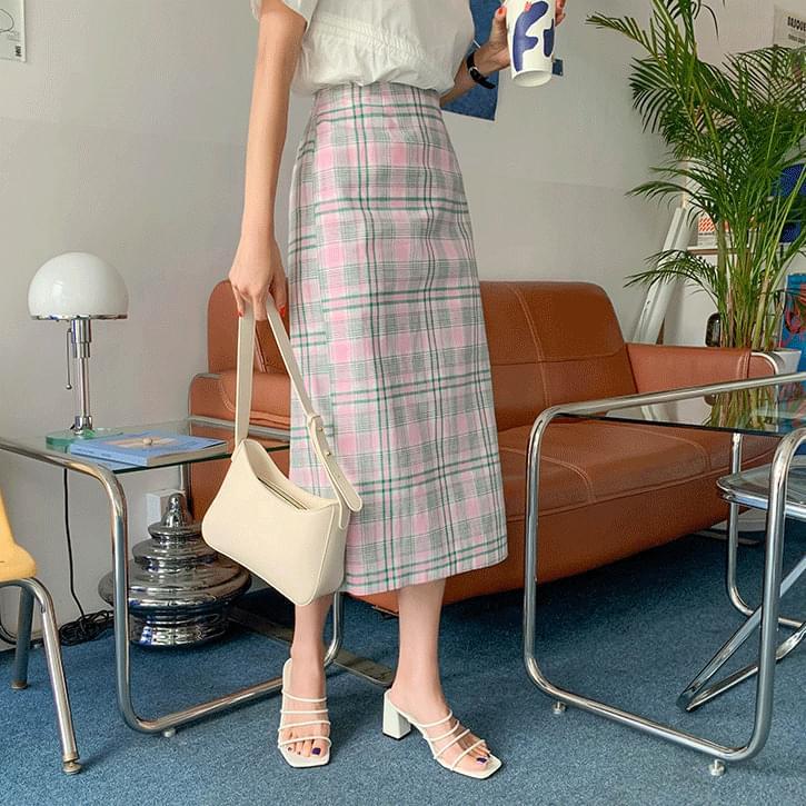 back slit check midi skirt