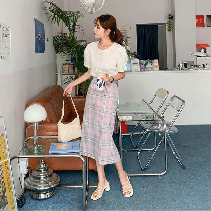 Diagonal shirring #Simple short sleeve blouse