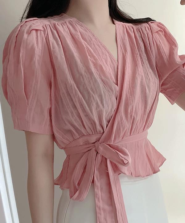 Oil Painting Embroidery Wrap Ruffle Blouse 2color