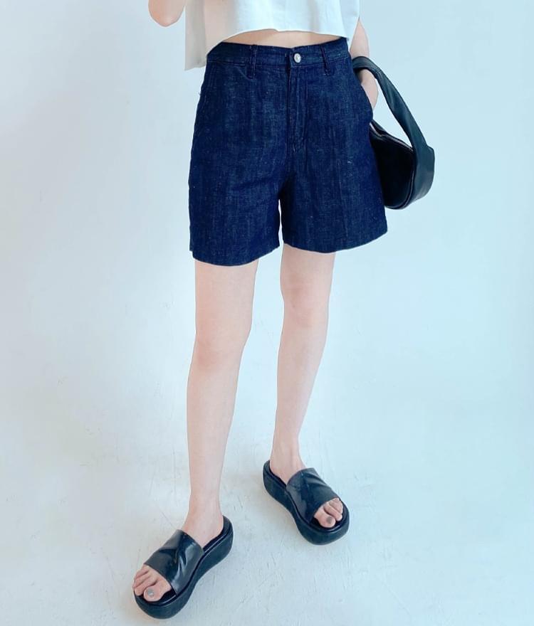 Linen Blend Denim Shorts