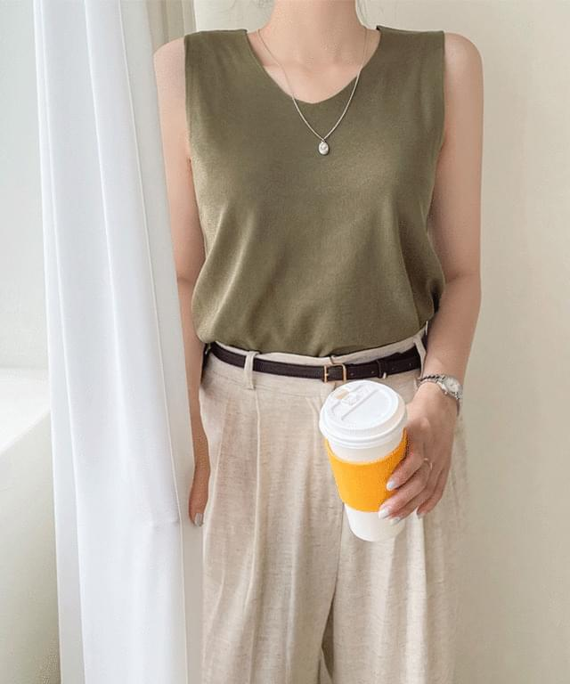 Big Size 55-66 Cari V-Neck Knitwear Sleeveless
