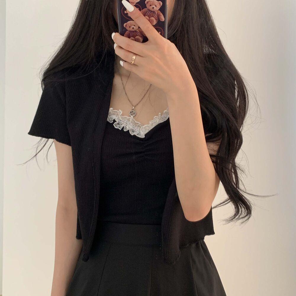 Lace Sleeveless Short Sleeve Cardigan Set