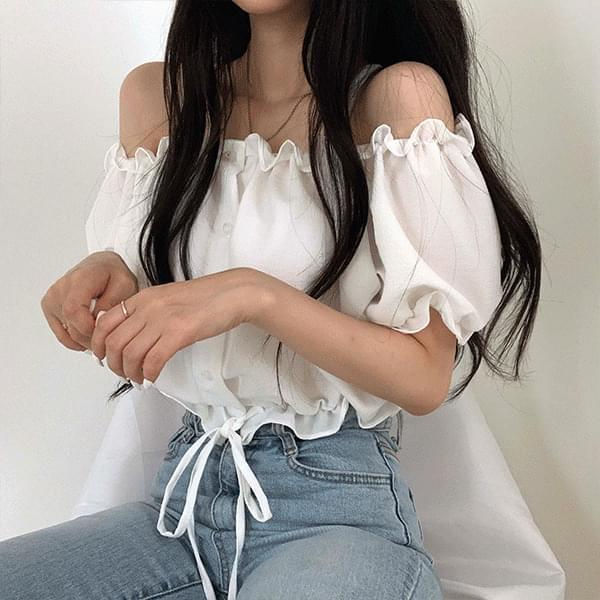 crop-string off-the-shoulder blouse