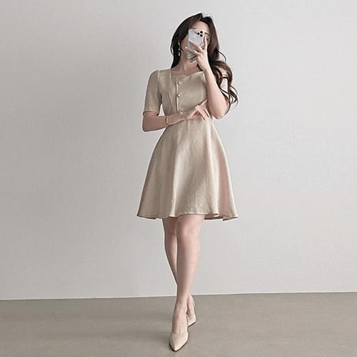 Straight Right Shoulder Heart Neck Mini Flare Dress 2color