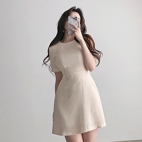Straight Basic Round Spandex Mini Short Sleeve Dress 2color