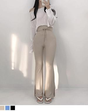 Core Ribbed slit Flared trousers