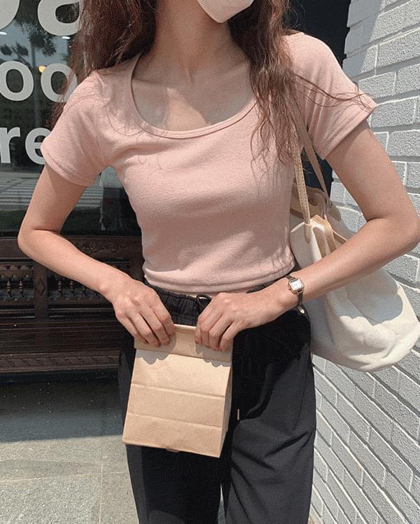 rood square neck cropped T-shirt