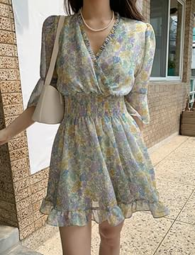 Cosmos frill banding mini Dress