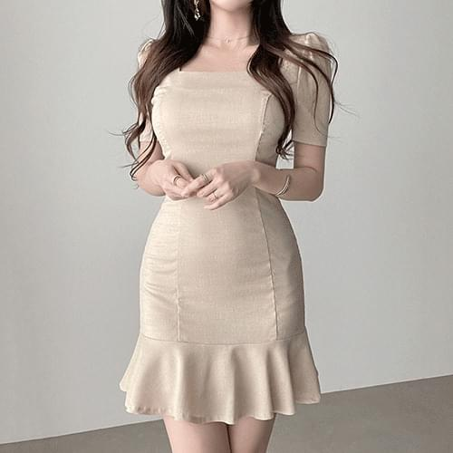 Straight mermaid frill square neck Dress 2color