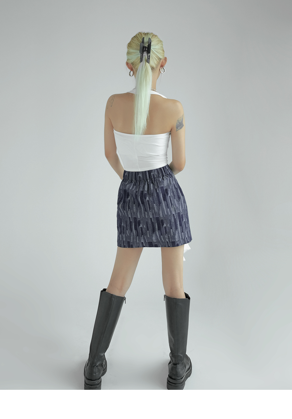 Humphrey herringbone denim skirt