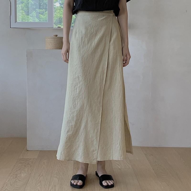 Edel Linen Wrap Long Skirt - 3 color