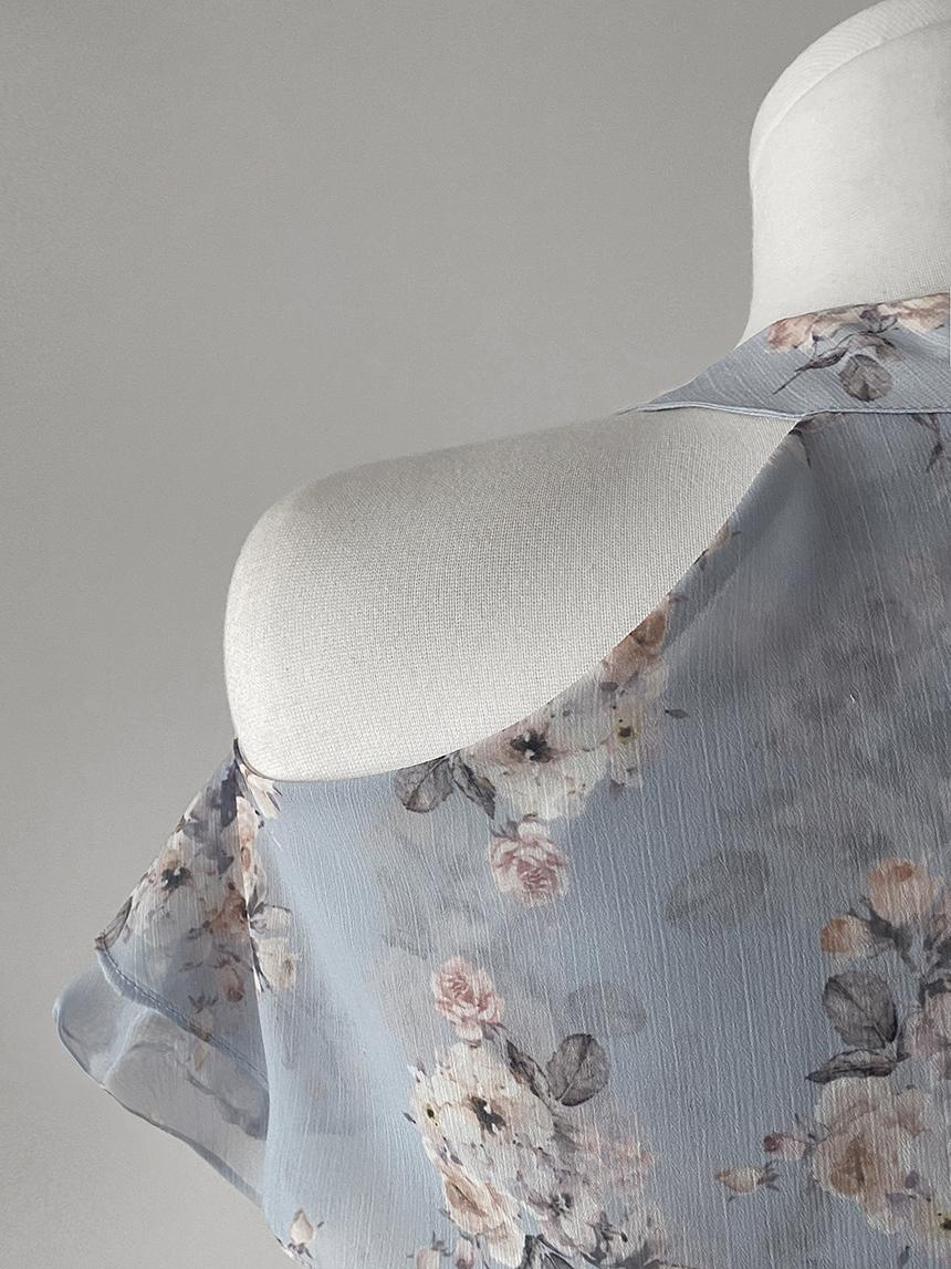 Fine watercolor flower chiffon ruffle halterneck Dress 2color
