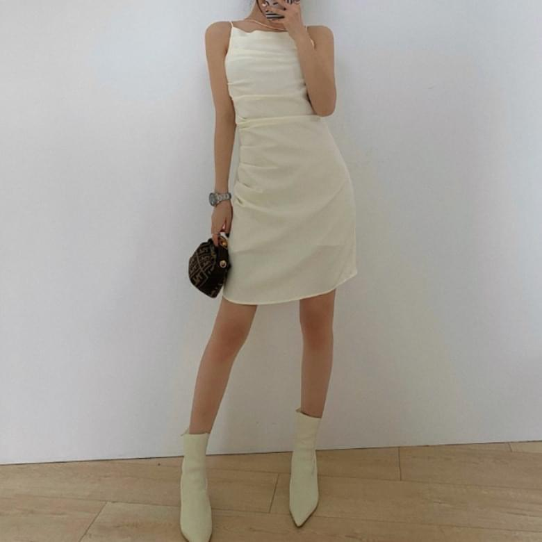 Raffle body line shirring diagonal string Dress