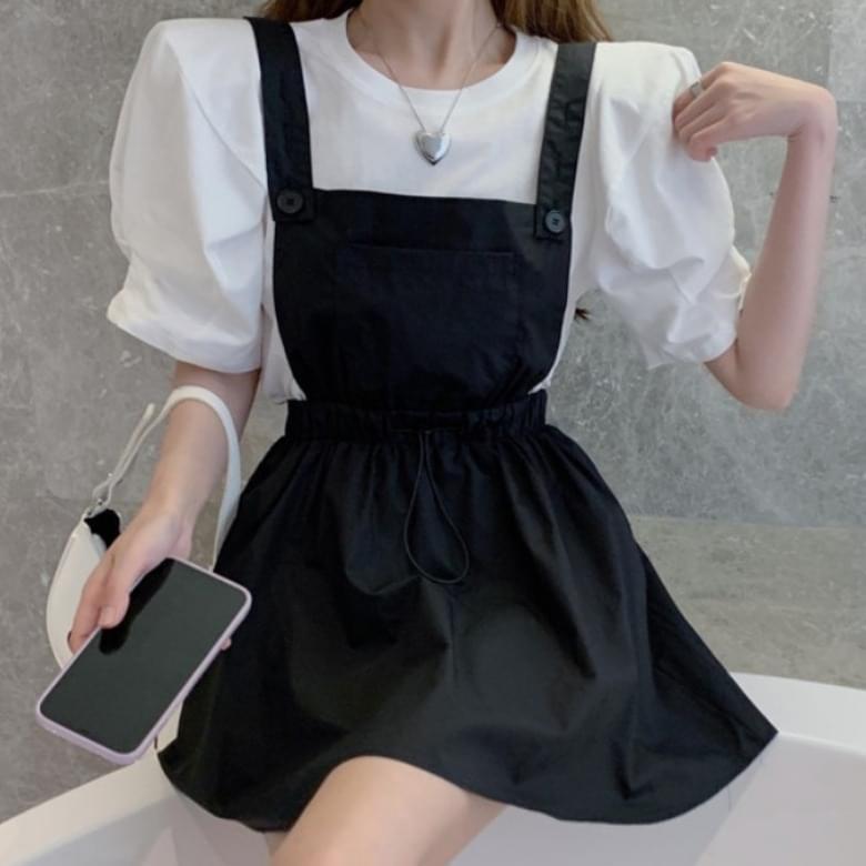 Casual Black Suspenders Pocket Shorts Dress