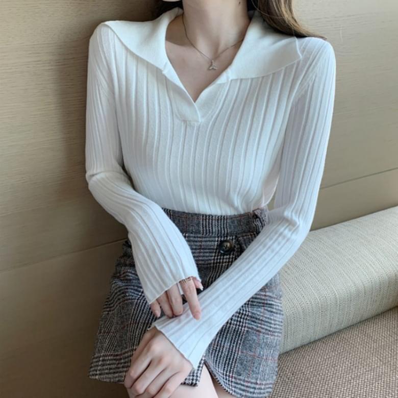 Daily Look Basic Plain Collar Long Sleeve Knitwear