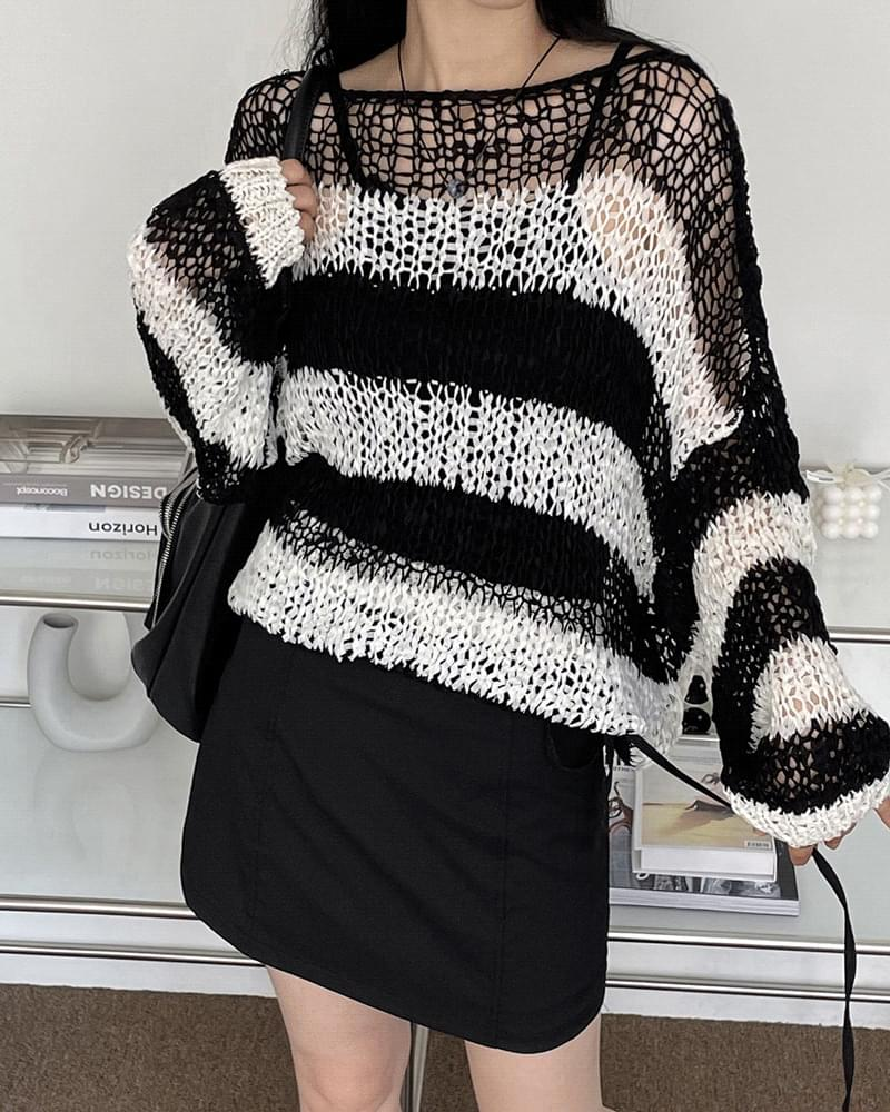 Wookiee Stripe Overfit Net Knitwear (人氣商品配送延遲) 針織衫