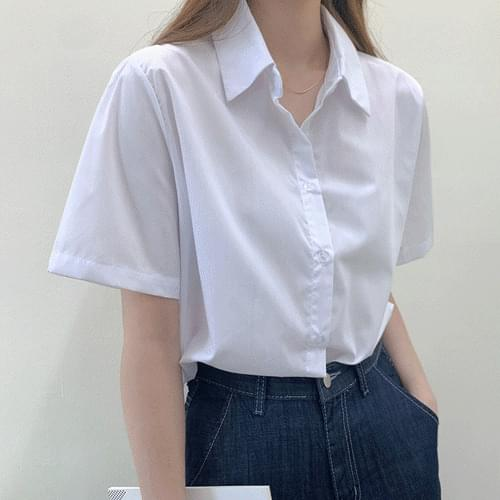 Unbaled Basic Crop Pastel Collar Loose-fit Fit Short Sleeve Shirt Blouse T#YW799
