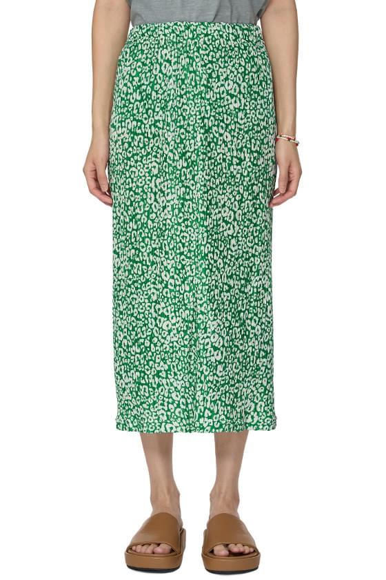leopard pleated long skirt