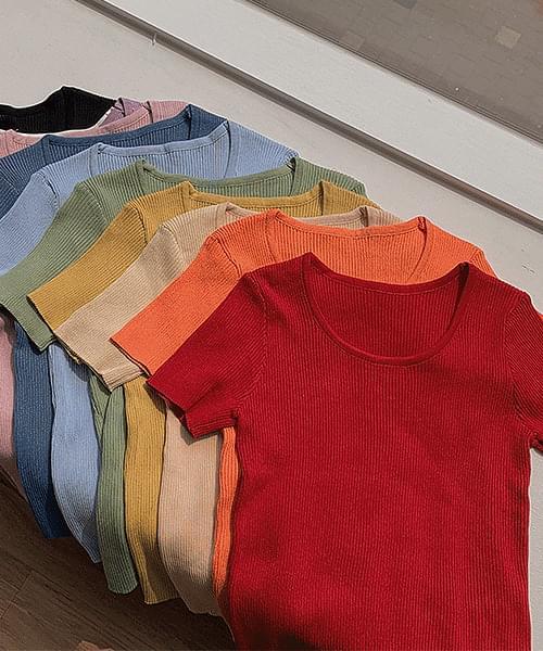 Green Tea Latte U-neck Ribbed Short Sleeve Knitwear T-shirt