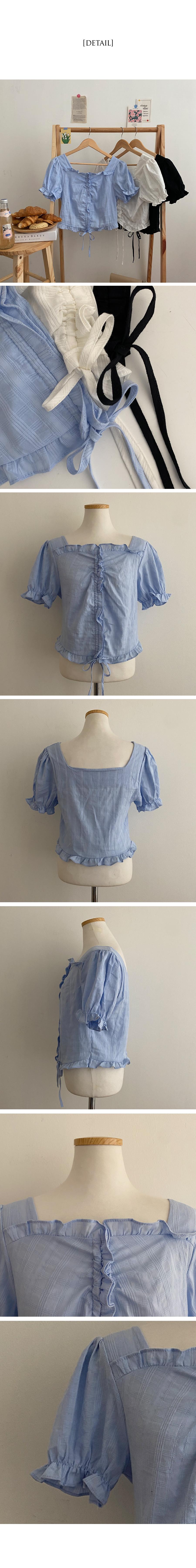 pink shirring ruffle blouse