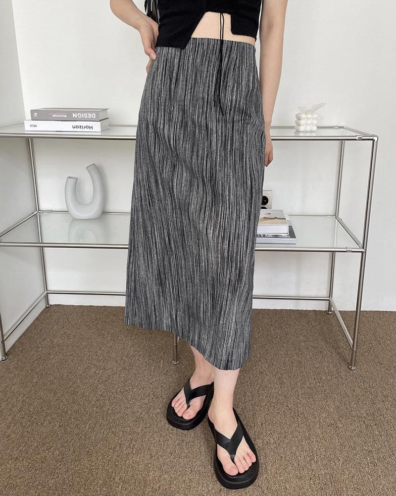 Ms. Vintage Striped Linen Long Skirt 裙子