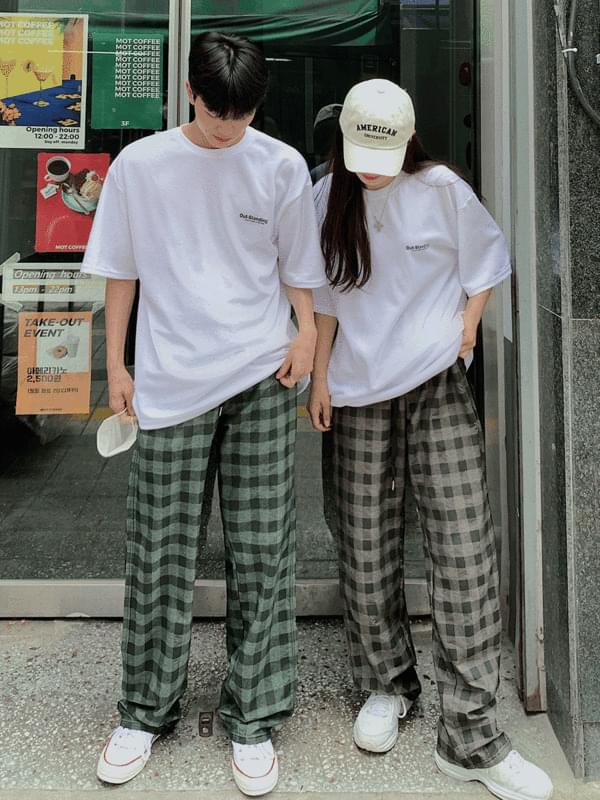 cube check trousers