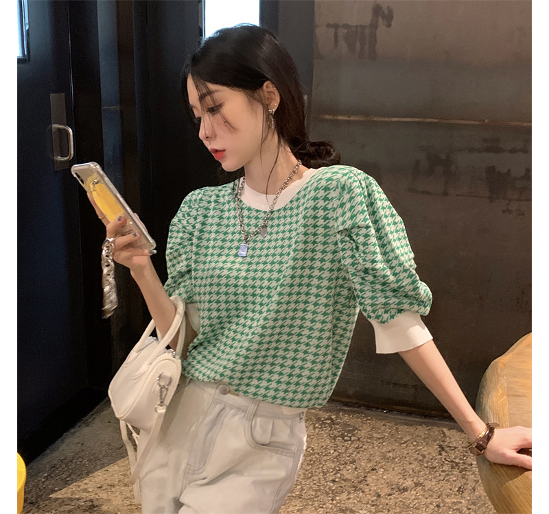 kn5393 Hazel Hound Check Short Sleeve Knitwear
