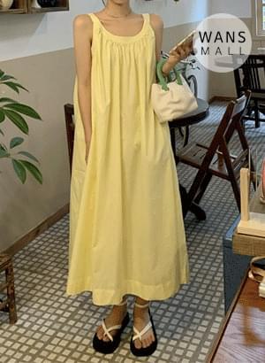 op5204 Shure Yellow Sleeveless Dress