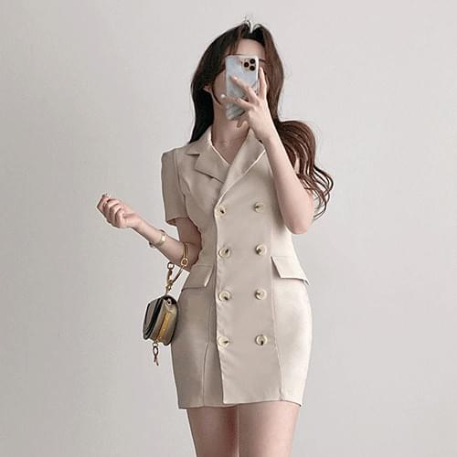 Straight Spandex double button collar jacket Dress 3color