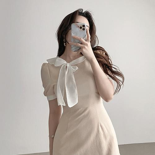Straight color matching crew side ribbon puff short sleeve mini Dress 2color