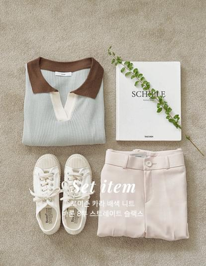 Roison Collar Color Matching Knitwear & Slacks Set