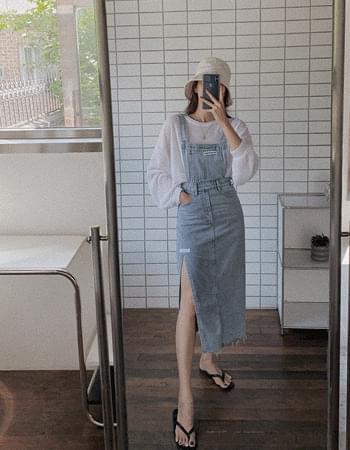Patch slit overall denim Dress